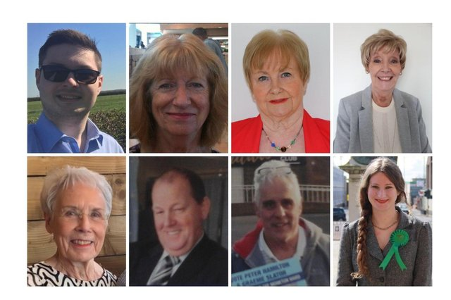 Top row (l-r) Chris Smith, Marian Stead, Margaret Meling, Joanne Keegan Bottom row (l-r) Margaret Snowling, Peter Hamilton, Graeme Slator and Rhiannan Curtis