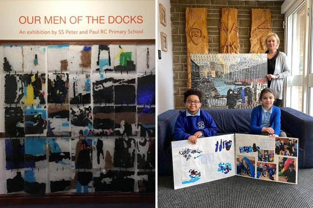 (right) Ethan Murray and Emily Martin, Year 2 students at SS Peter and Paul RC Primary and Jenny Parker Early Years, English, Art and Music Co-ordinator. The children are holding their project sketch book and Jenny Parker is holding a copy of the Year 6 artwork created for the National Gallery's Take One Picture programme.  (left) Our Men of the Docks exhibition by SS Peter and Paul RC at South Shields Museum & Art Gallery.