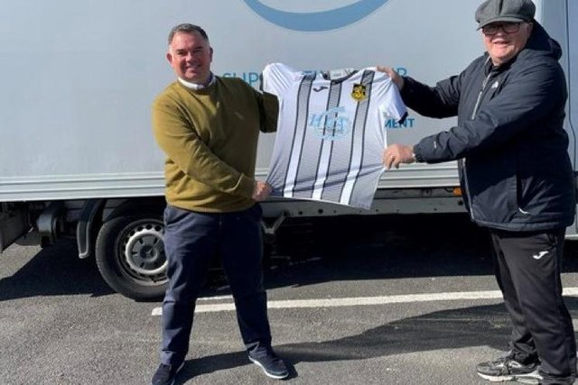 Neil Henry, director at HLA Services, left,  with Kevin Oliver, chairman at Boldon CA football club.