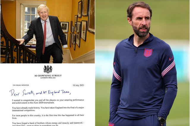 Prime Minister Boris Johnson has written to the England football team ahead of their clash with Italy in Sunday's Euros final.