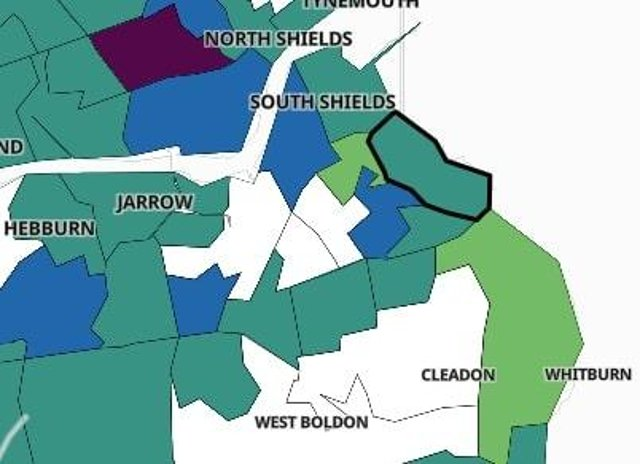 The 15 areas in South Tyneside where there has been a rise in the number of cases